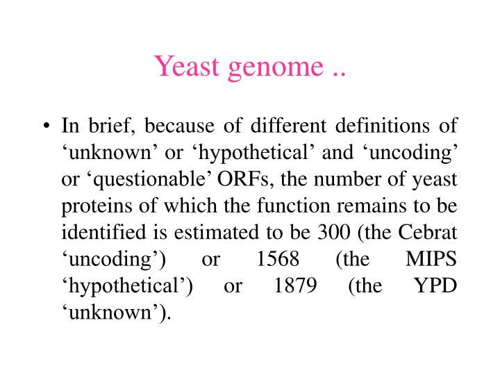 Yeast genome ..