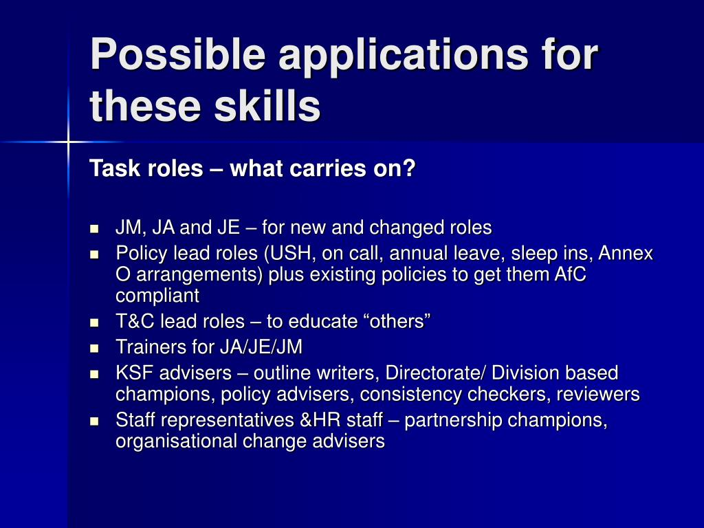 Possible applications for these skills
