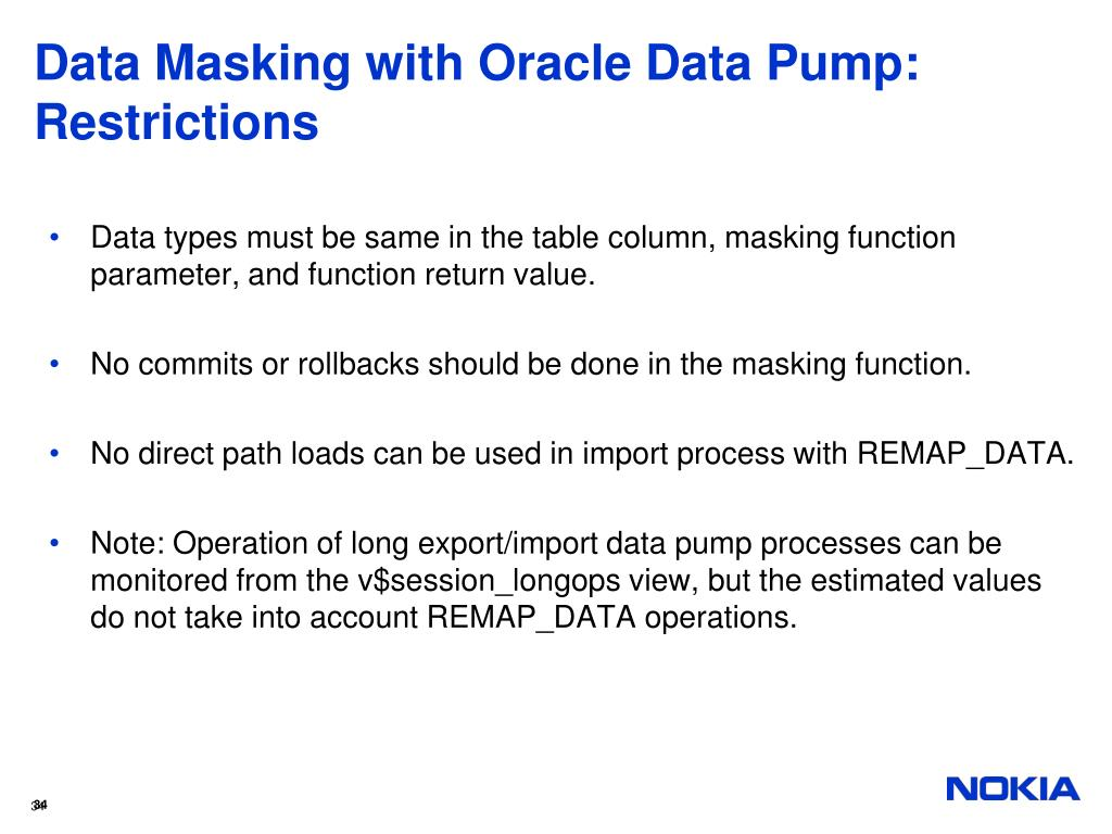 Data Masking with Oracle Data Pump: Restrictions