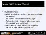 moral principles or values26