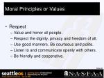 moral principles or values27