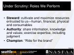 under scrutiny roles we perform33