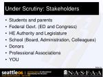 under scrutiny stakeholders