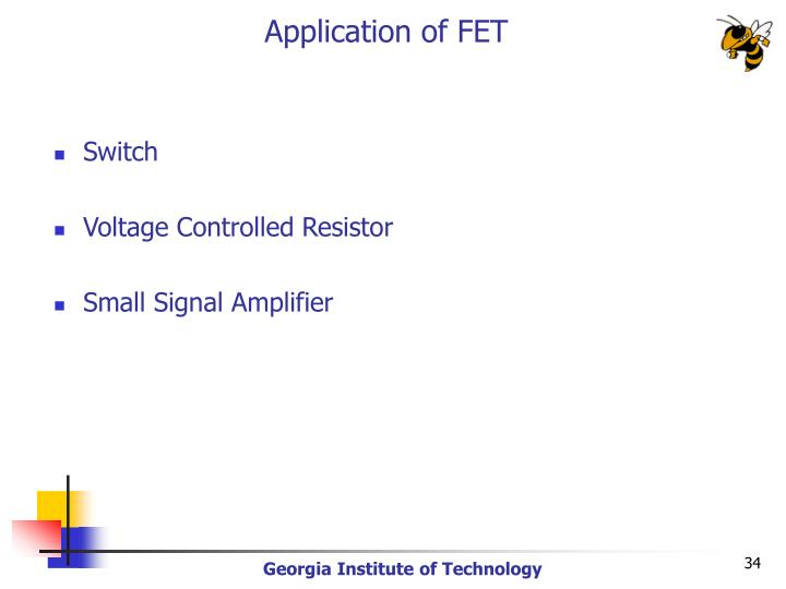 Application of FET