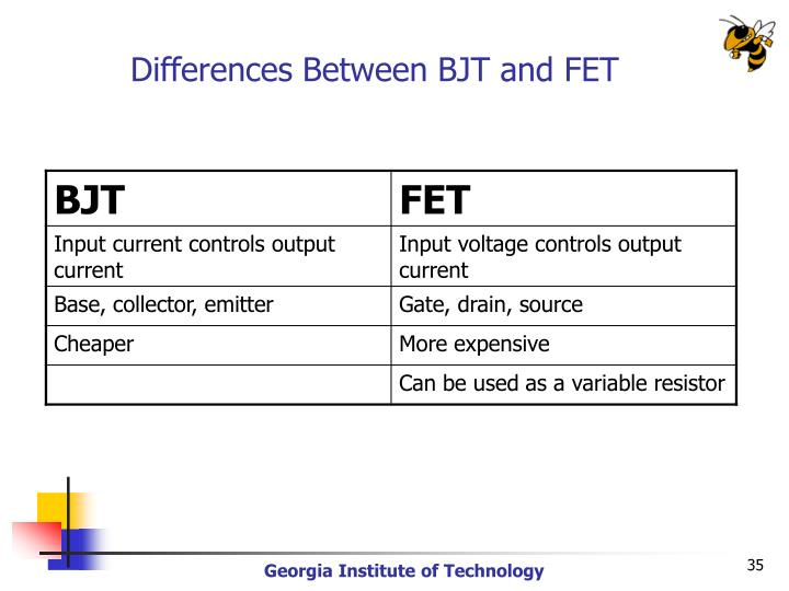 Differences Between BJT and FET