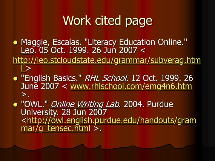 Work cited page