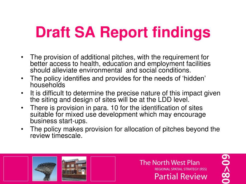 Draft SA Report findings