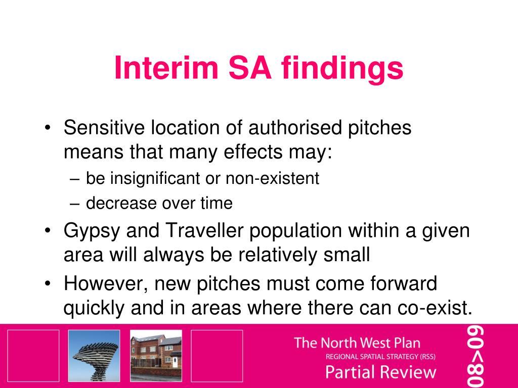 Interim SA findings