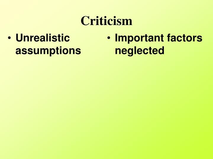 Unrealistic assumptions