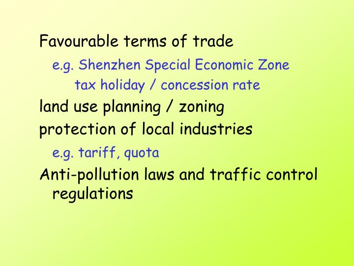 Favourable terms of trade