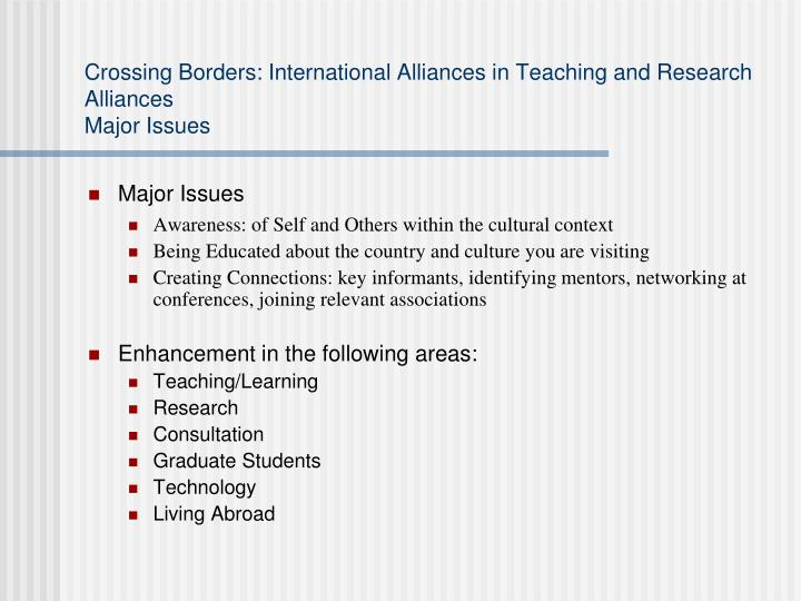 Crossing borders international alliances in teaching and research alliances major issues