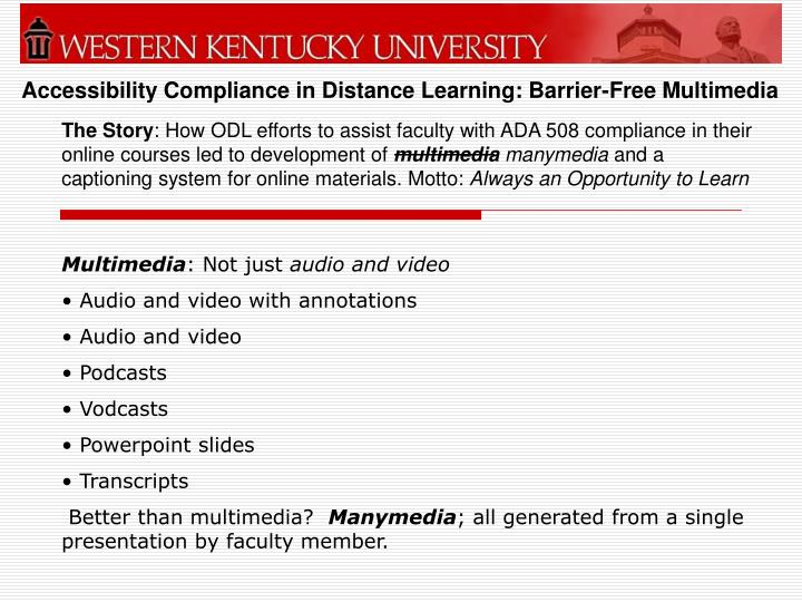 Accessibility compliance in distance learning barrier free multimedia1