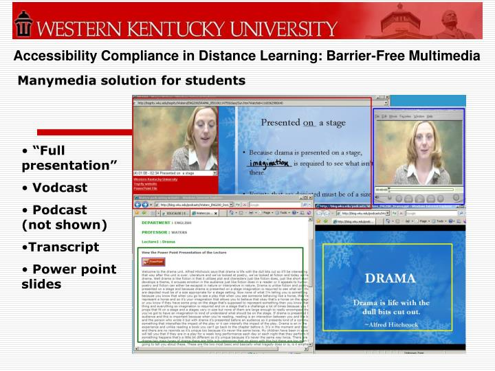 Accessibility compliance in distance learning barrier free multimedia2