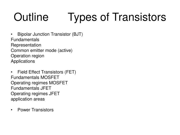 OutlineTypes of Transistors