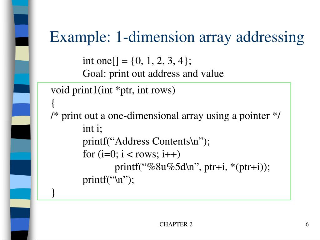 Example: 1-dimension array addressing