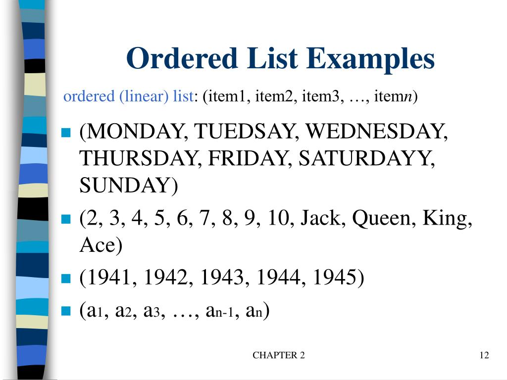 Ordered List Examples