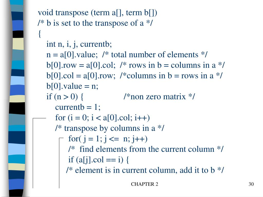void transpose (term a[], term b[])