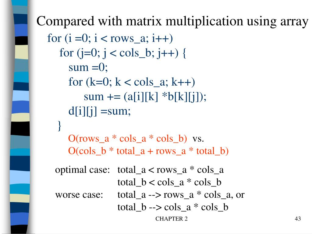 Compared with matrix multiplication using array
