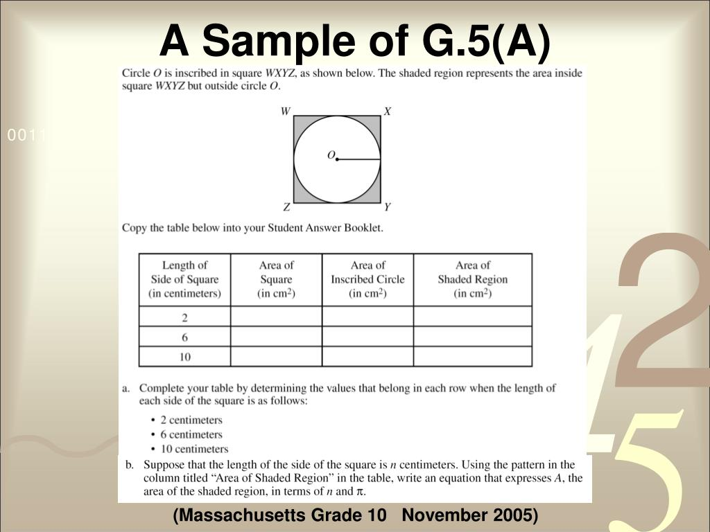A Sample of G.5(A)