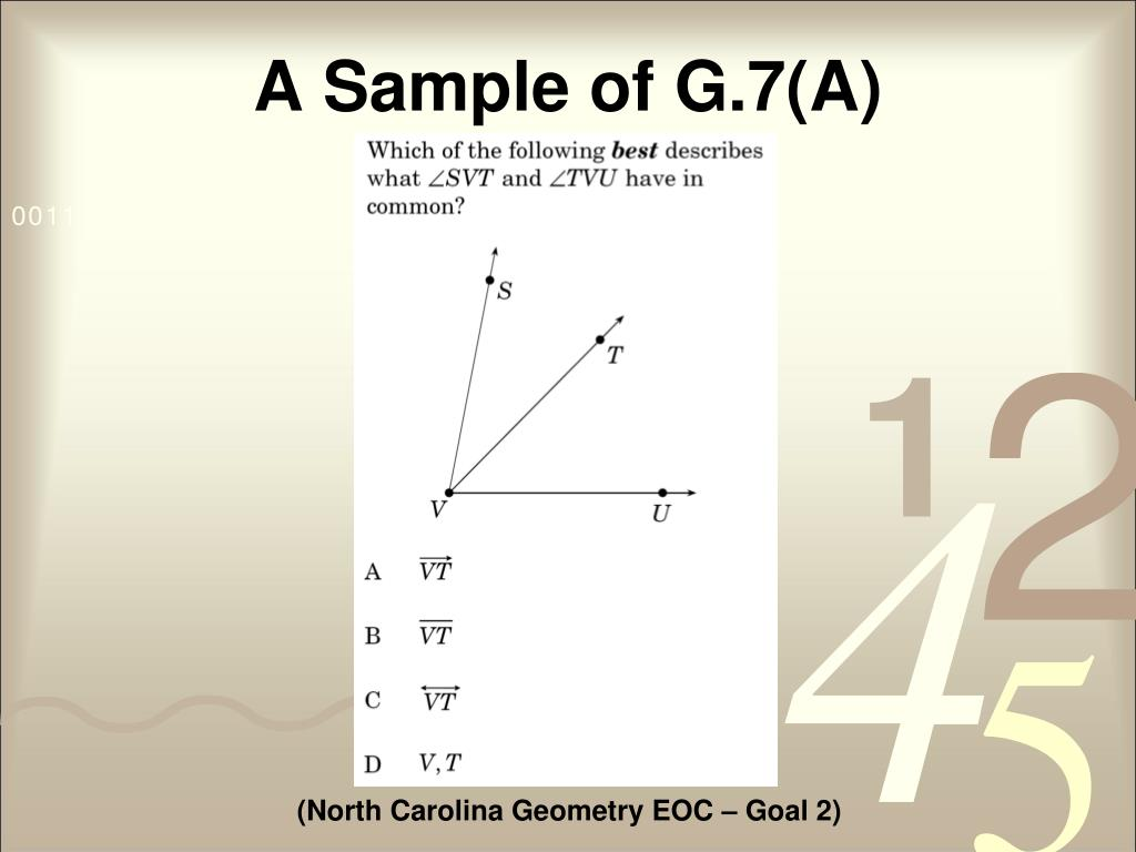 A Sample of G.7(A)
