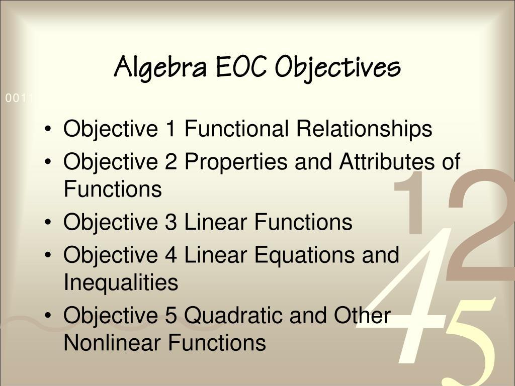 Algebra EOC Objectives