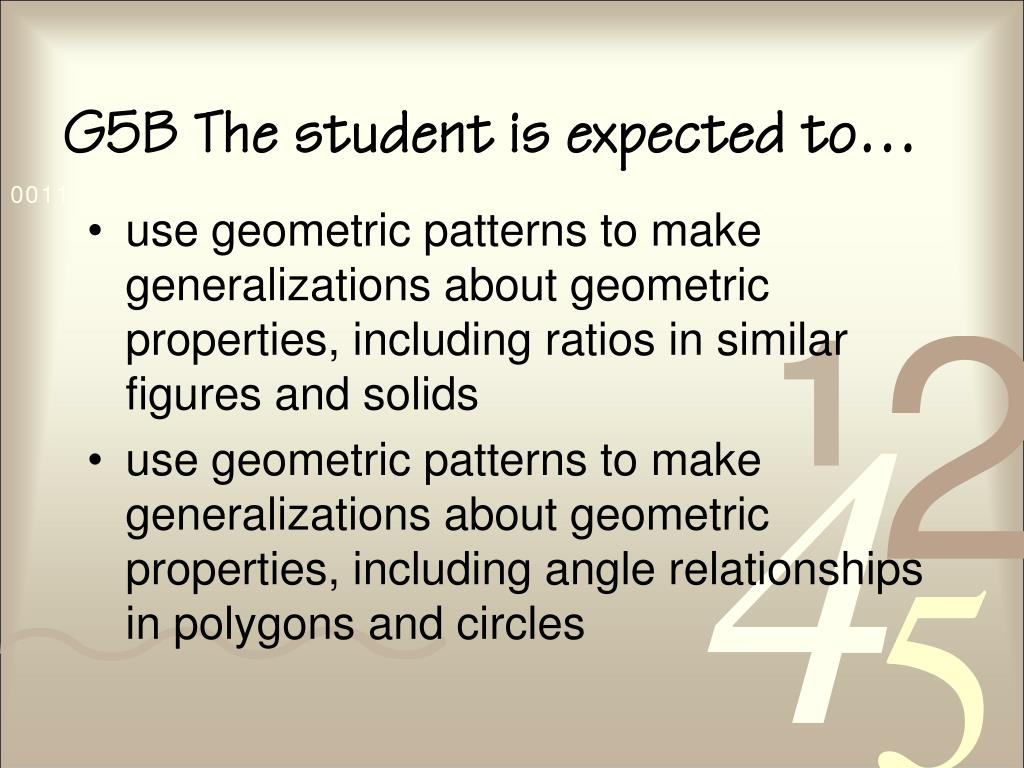 G5B The student is expected to…