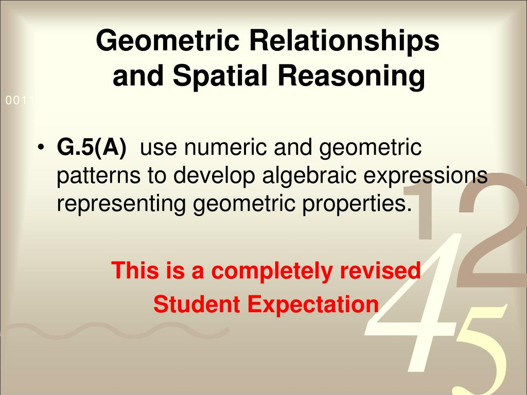 Geometric Relationships and Spatial Reasoning