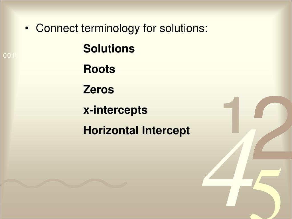 Connect terminology for solutions: