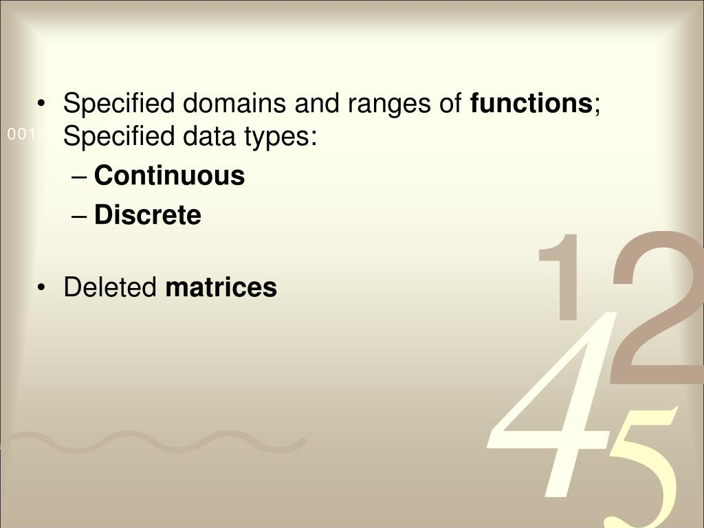 Specified domains and ranges of