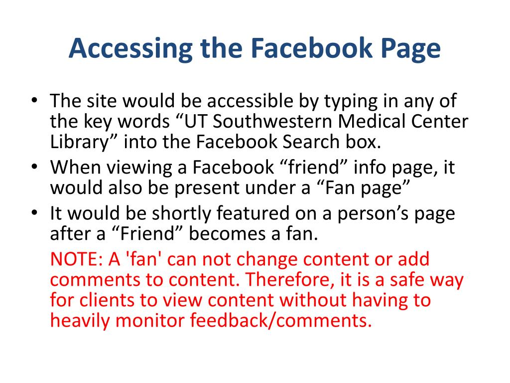 Accessing the Facebook Page