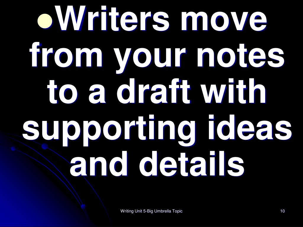 Writers move from your notes to a draft with supporting ideas and details