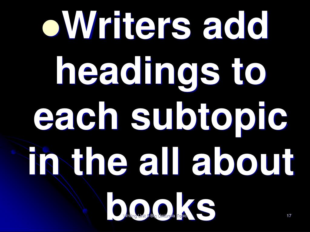 Writers add headings to each subtopic in the all about books