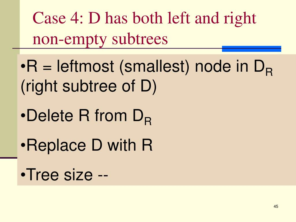 Case 4: D has both left and right non-empty subtrees