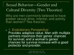 sexual behavior gender and cultural diversity two theories