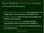 sexual problems psychological factors in sexual dysfunctions