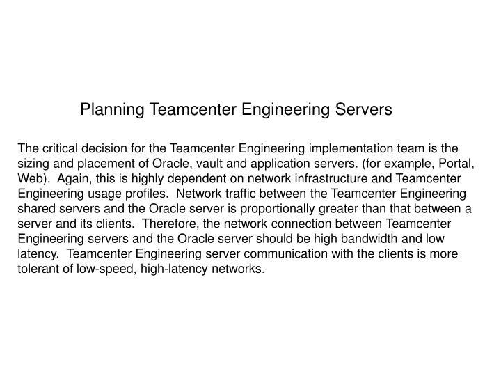Planning Teamcenter Engineering Servers