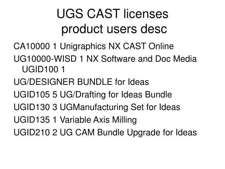 UGS CAST licenses