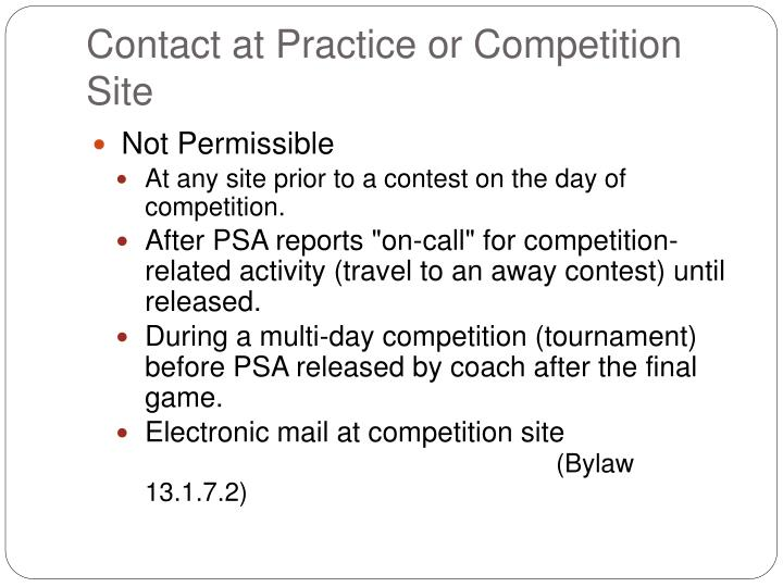 Contact at Practice or Competition Site