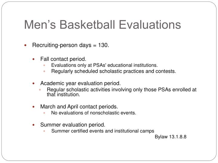 Men's Basketball Evaluations