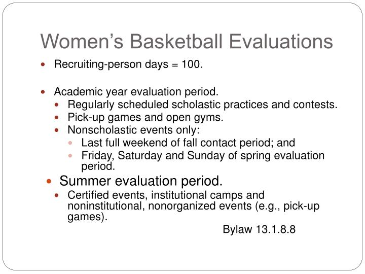 Women's Basketball Evaluations