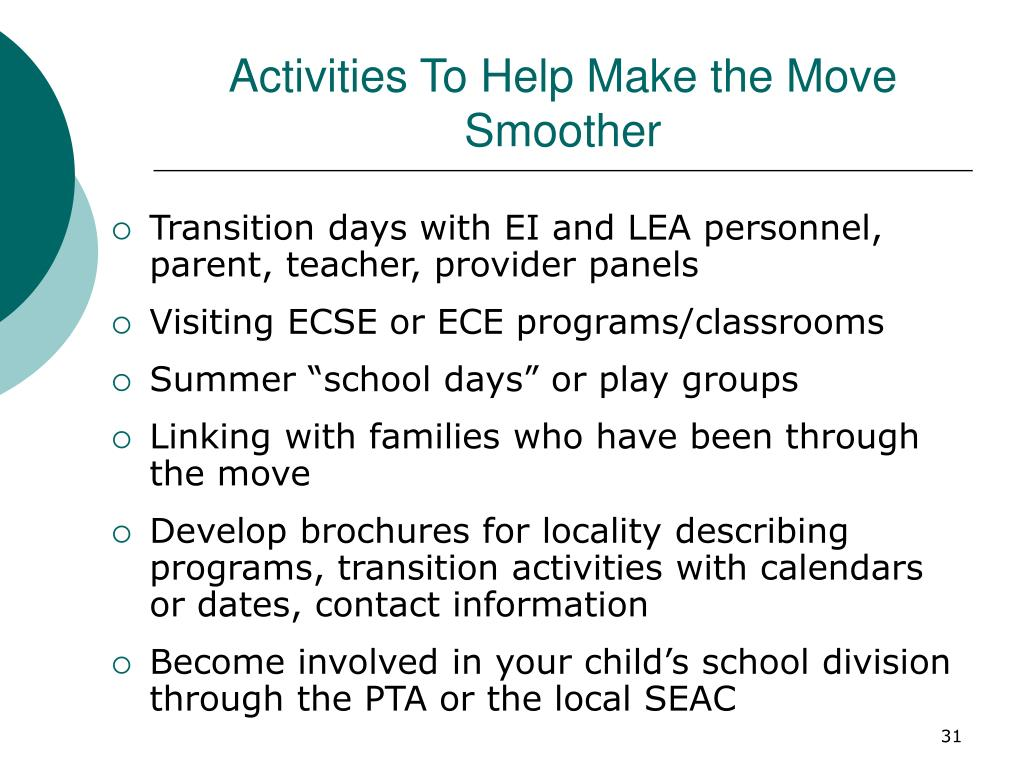 Activities To Help Make the Move Smoother