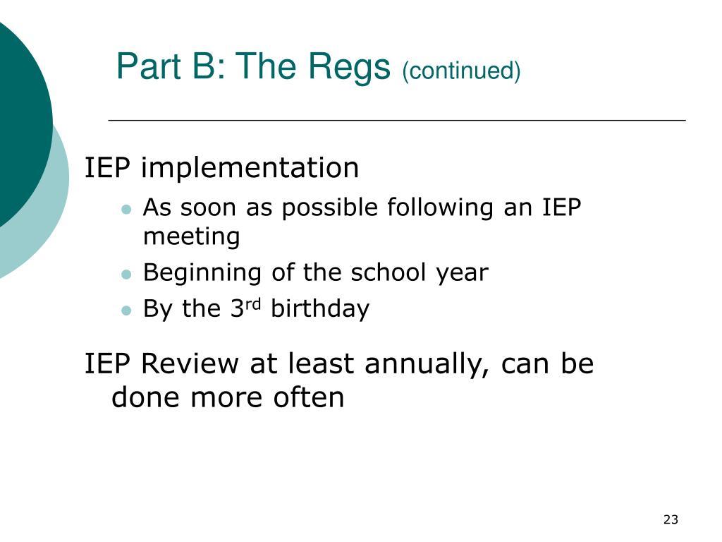 Part B: The Regs