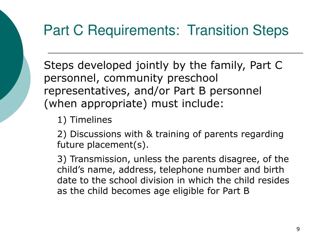 Part C Requirements:  Transition Steps