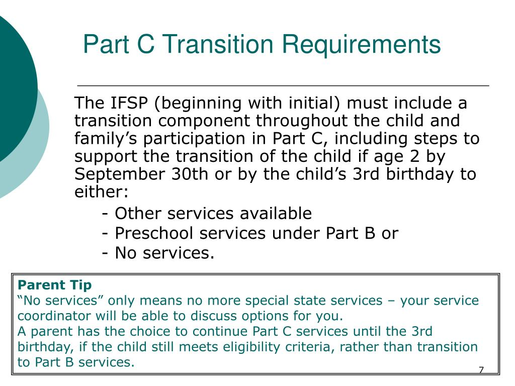 Part C Transition Requirements