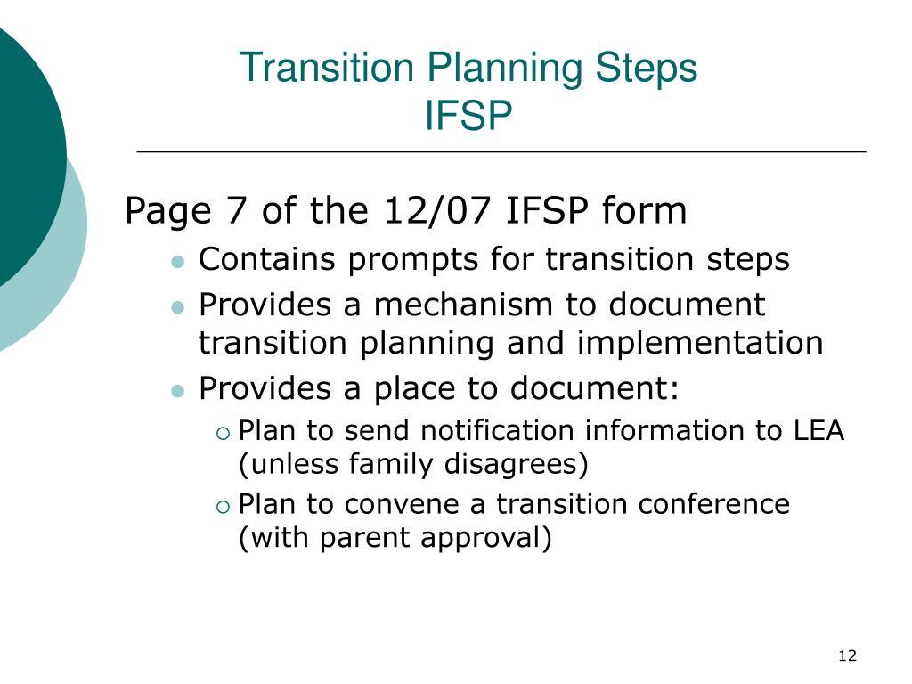 Transition Planning Steps