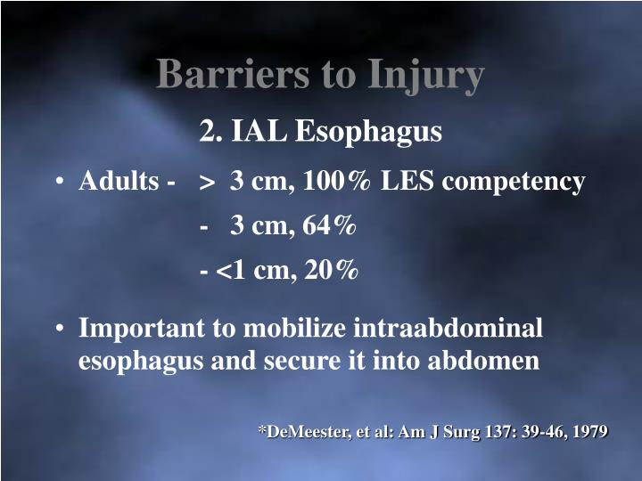 Barriers to Injury