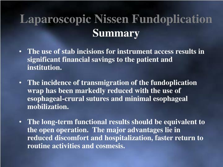 Laparoscopic Nissen Fundoplication