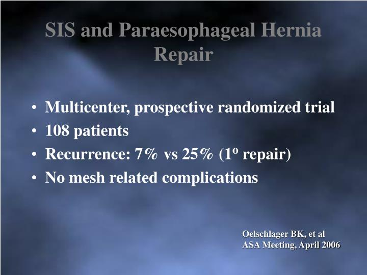 SIS and Paraesophageal Hernia Repair