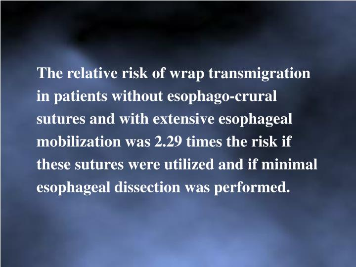The relative risk of wrap transmigration in patients without esophago-crural sutures and with extensive esophageal mobilization was 2.29 times the risk if these sutures were utilized and if minimal esophageal dissection was performed.
