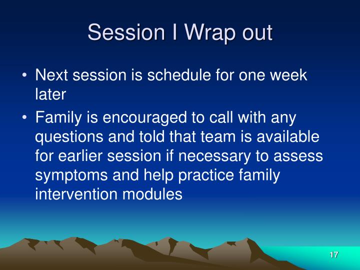 Session I Wrap out